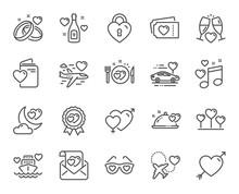 Honeymoon Line Icons. Wedding ...