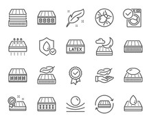 Mattress Line Icons. Breathabl...