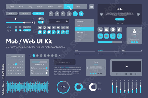 Vector UI kit for mobile applications and web sites Wallpaper Mural