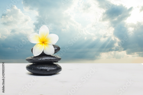 Poster Spa Tropical yellow flower and stones on white background. Spa healt