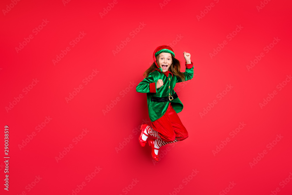 Fototapety, obrazy: Full length body size view of nice attractive cheerful cheery funny funky overjoyed small little pre-teen elf having fun rejoicing isolated over bright vivid shine red background