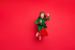canvas print picture - Full length body size view of nice attractive cheerful cheery funny funky overjoyed small little pre-teen elf having fun rejoicing isolated over bright vivid shine red background