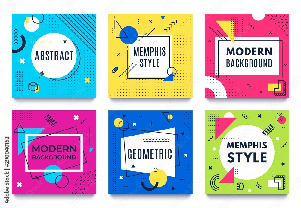 Fototapeta Abstract geometric frame. Memphis square cards, funky colourful stripes and dots shapes and quotes text frames background. Futuristic brochure, advertising 80s frames. Isolated vector icons set