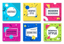 Abstract Geometric Frame. Memphis Square Cards, Funky Colourful Stripes And Dots Shapes And Quotes Text Frames Background. Futuristic Brochure, Advertising 80s Frames. Isolated Vector Icons Set