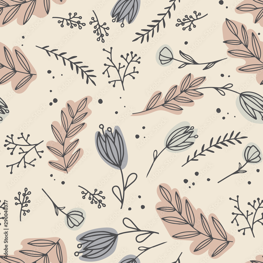 Fotografie, Obraz Seamless pattern with creative decorative flowers in paster colors