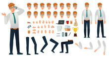 Cartoon Manager Character Kit. Office Managers Creation Constructor, Different Body Views, Face Emotions And Gestures. Business Person Poses Construction. Isolated Vector Icons Set
