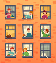 People In Windows Frames. Communicating Neighbors, Looking Out Window And Urban Residents. Characters Inside City Apartment In Windows At Morning Cartoon Vector Illustration