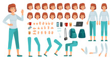 Cartoon Female Character Kit. ...