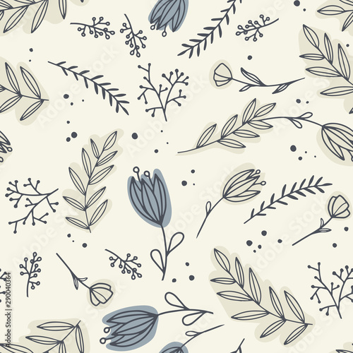 Türaufkleber Künstlich Seamless pattern with different flowers. Flowers for textile, wallpaper, scrapbooking