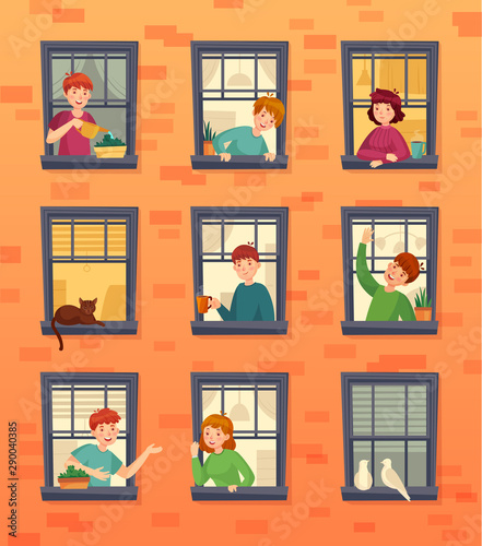 People in windows frames Fototapet