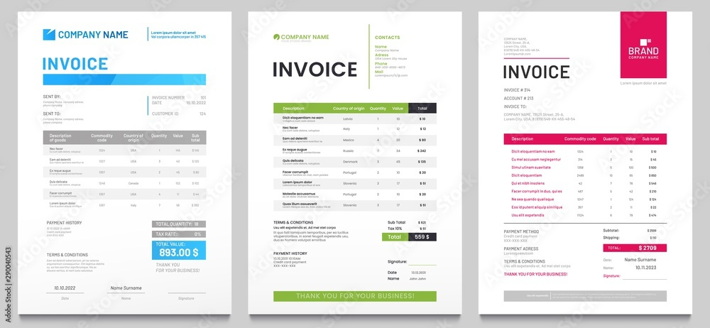 Fototapeta Business invoice form template. Invoicing quotes, money bills or price invoices and payment agreement design templates. Tax form, bill graphic or payment receipt page vector set