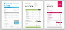 Business Invoice Form Template. Invoicing Quotes, Money Bills Or Price Invoices And Payment Agreement Design Templates. Tax Form, Bill Graphic Or Payment Receipt Page Vector Set