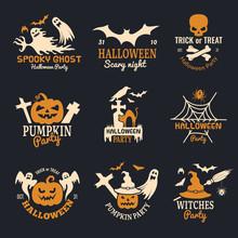 Halloween Badges. Party Scary Logo Horror Symbols Skull Bones Vector Halloween Collection. Horror Party Holiday Halloween Logo Illustration