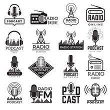 Radio Station Logo. Music Studio Podcast Speaker Vector Badges Collection. Radio Station Logo With Antenna, Broadcast Logotype Fm Illustration