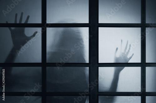 Obraz Shadow of scary ghost woman - fototapety do salonu