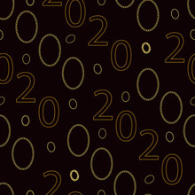 Seamless Pattern With Numbers 2020 And Gold Chains. Dark Brown Background With Bracelets From Different Chains And The Text 2020. Chains Are Drawn By Hand. Vector Illustration