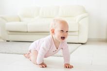 Smiling Crawling Baby Girl At ...