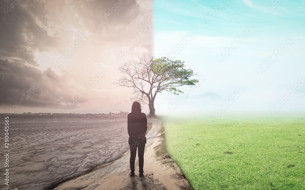Fototapeta International human rights day concept: Business woman standing between climate worsened with good atmosphere