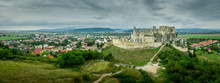 Aerial View Of Medieval Beckov Castle With Inner And Outer Courtyard, Cannon Tower,  Castle Gate, Chapel In Slovakia