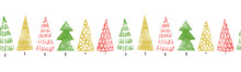 Seamless Christmas Tree Border...