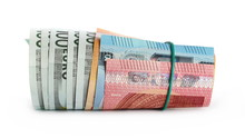 Rolled Up Money, Euro Banknote...