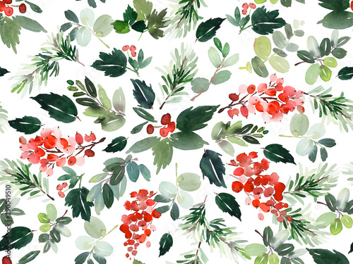 Fototapeta  Seamless watercolor Christmas pattern with berries and spruce