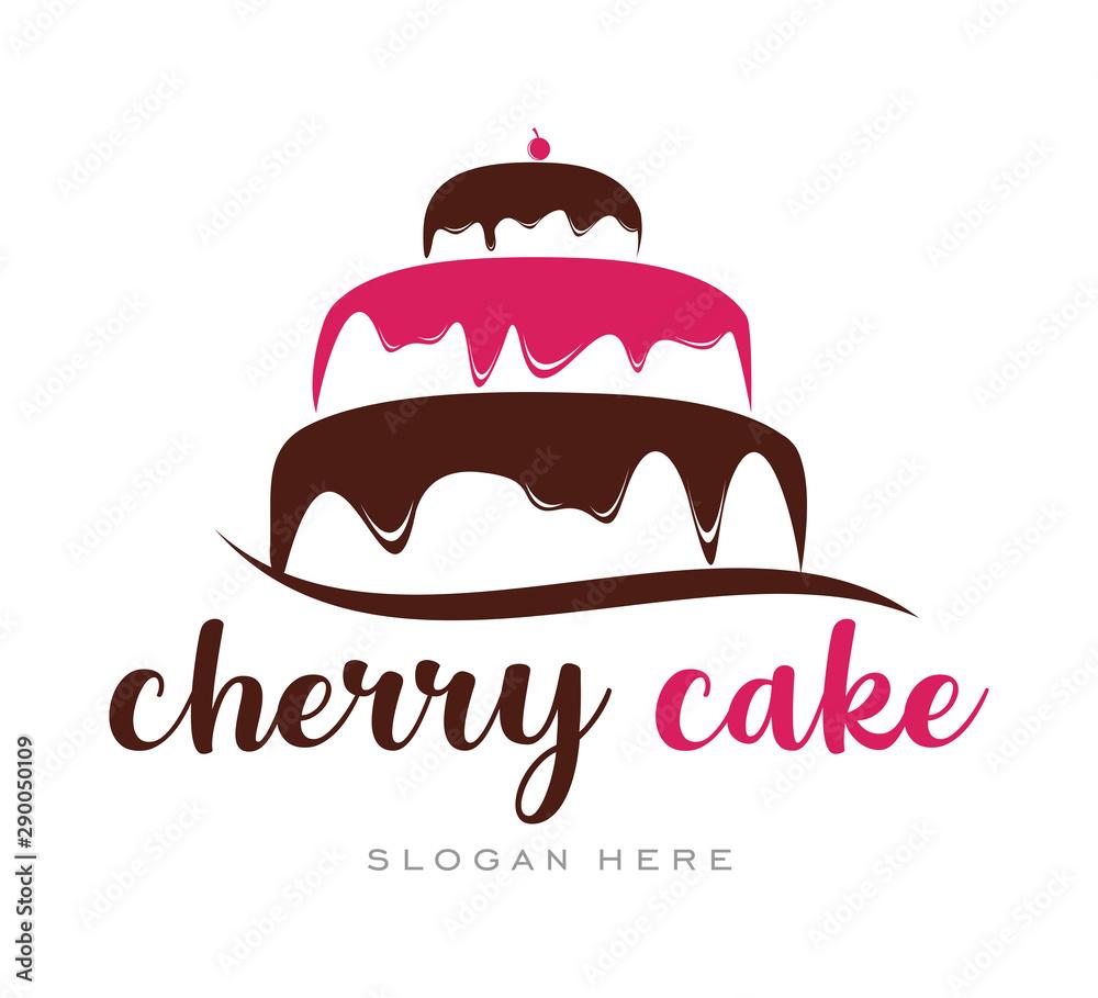 Fotografia Cherry Cupcake Cream Simple Logo template