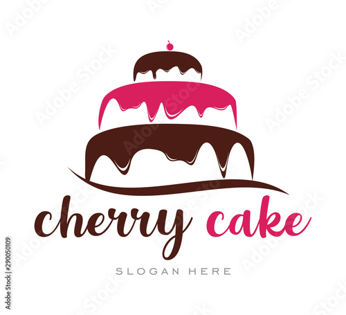 Cherry Cupcake Cream Simple Logo template Poster Mural XXL
