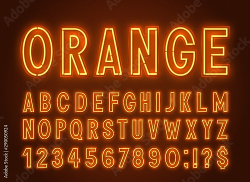 Valokuvatapetti Neon orange font, light alphabet with numbers on a dark background