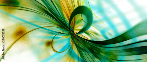 Printed kitchen splashbacks Abstract wave Green inverted quantum mechanics widescreen background