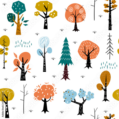 Seamless pattern with colorful autumn forest trees Canvas Print