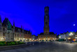 canvas print picture - Markt (Market Square), Provinciaal Hof (Province Court) and Belfry of Bruges (Belfort van Brugge) is a medieval bell tower in the centre of Bruges, Belgium. One of the most prominent symbols of Bruges