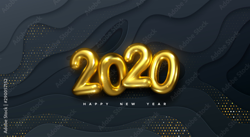 Fototapety, obrazy: Happy New 2020 Year. Vector holiday illustration. Golden numbers on black wavy paper shapes background textured with glittering particles. Layered papercut decoration. Festive banner template