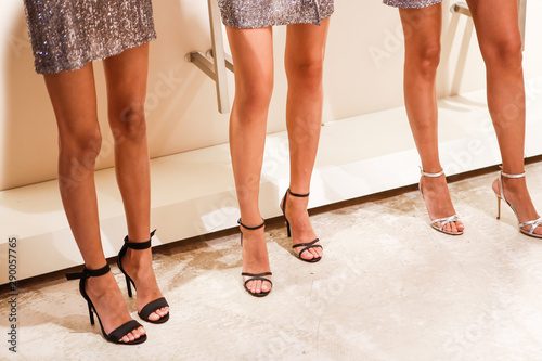 Legs of girls models, backstage of the fashion show at the fashion week Obraz na płótnie