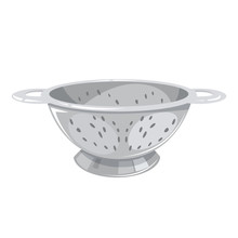 Colander, Cooking Utensil Made Of Steel. Sieve Tool, Domestic