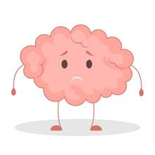 Pink Brain Character, Sad Stic...