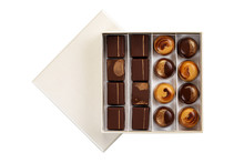 Chocolate Candy Set In White Box Isolated On White