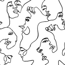 Continuous Line Face Women Seamless Pattern - Vector Endless Background Fashion Female Portrait One Line