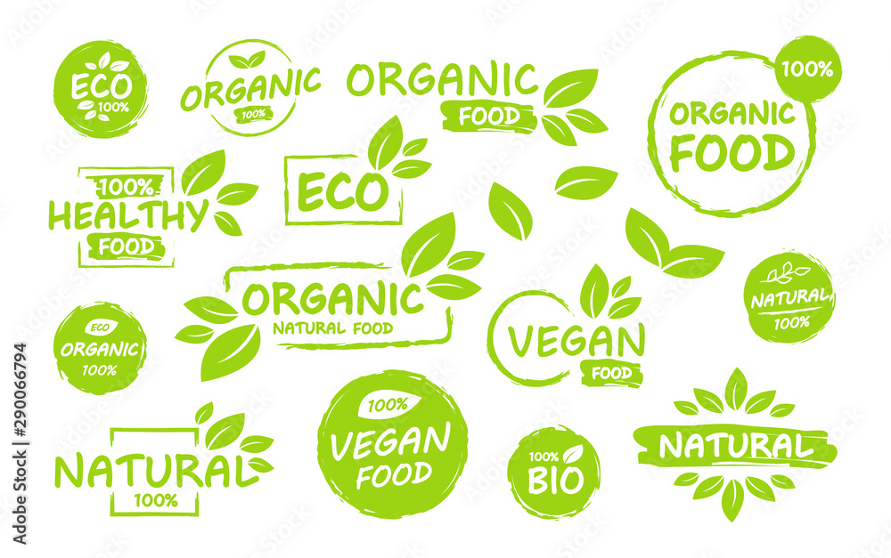 Fototapety, obrazy: Set of Vegan, eco, bio, organic, fresh, healthy, 100 percent, nateral food. Natural product. Collection of emblem cafe, badges, tags, packaging. Vector illustration.