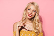 Leinwanddruck Bild - Image closeup of beautiful blonde woman smiling and holding sunglasses