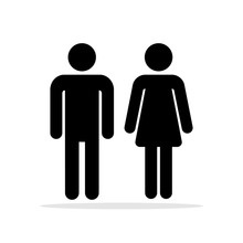 People Bathroom Icons. Men And Women Toilet Symbols, Female And Male Bathrooms Vector Signs, Woman And Man Silhouettes For Wc, Toileting Couple Pictograms