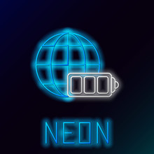 Blue Glowing Neon Line Battery Charge Level Indicator With Earth Globe Icon Isolated On Black Background. World Or Earth Sign. Colorful Outline Concept. Vector Illustration