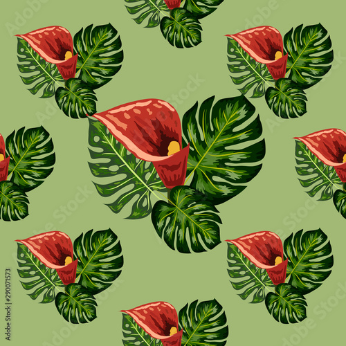 Seamless pattern with tropical leaves and callas lilies flowers. Tropical illustration. Jungle foliage.