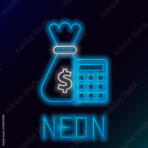 Blue Glowing Neon Line Calculator With