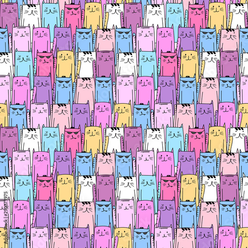 Fototapeta Cute cat seamless pattern background. Vector illustration.