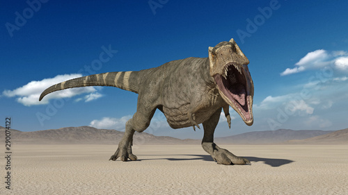 Photo T-Rex Dinosaur, Tyrannosaurus Rex reptile, prehistoric Jurassic animal roaring i