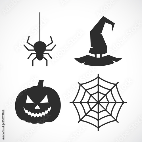 Photo  Halloween vector icon set