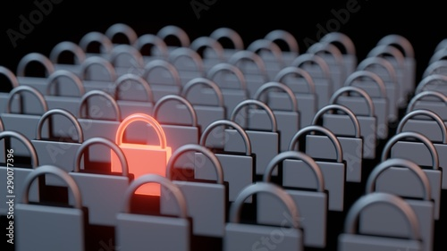 Carta da parati  3D Rendering of rows and columns of steel iron pad locks with one stand out in glowing red hot metal