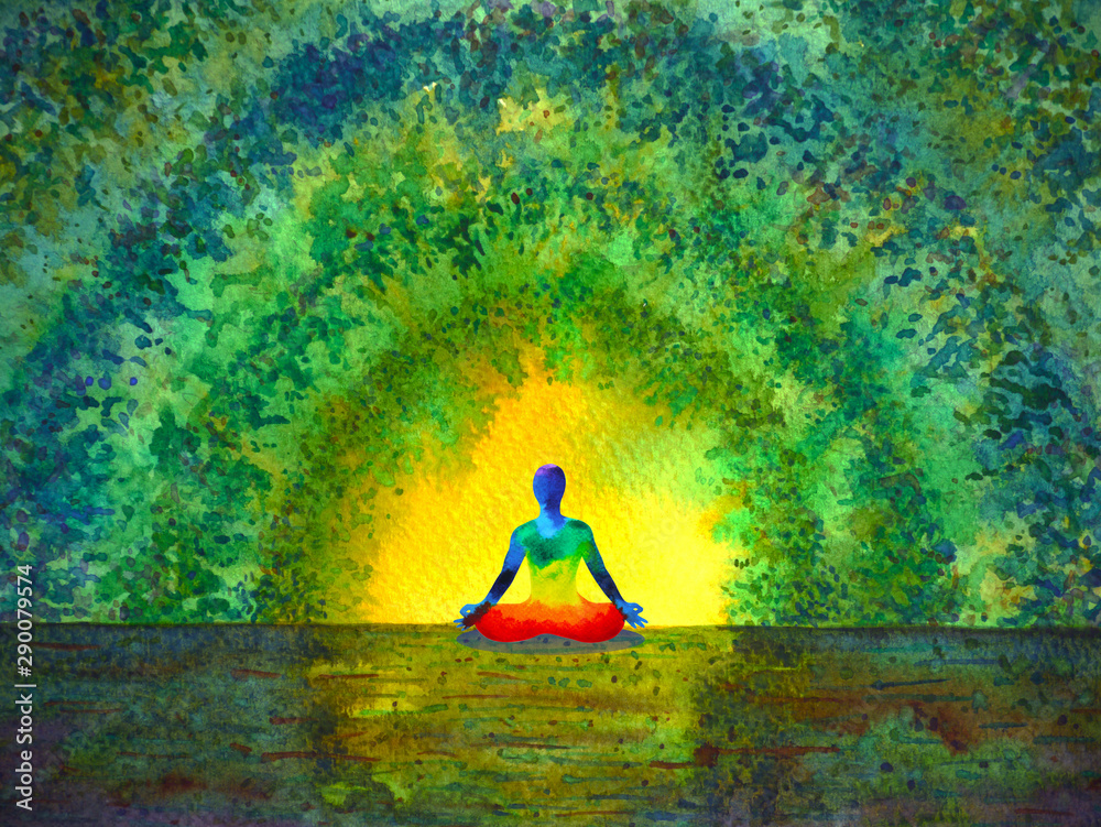 Fototapeta chakra color human lotus pose yoga in green tree forest tunnel, abstract world, universe inside your mind mental, watercolor painting illustration design hand drawn