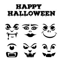 Halloween Pumpkins Carved Faces Silhouettes. Funny Monsters Icons. Template For Cut Out Jack O Lantern. Stencil Set.